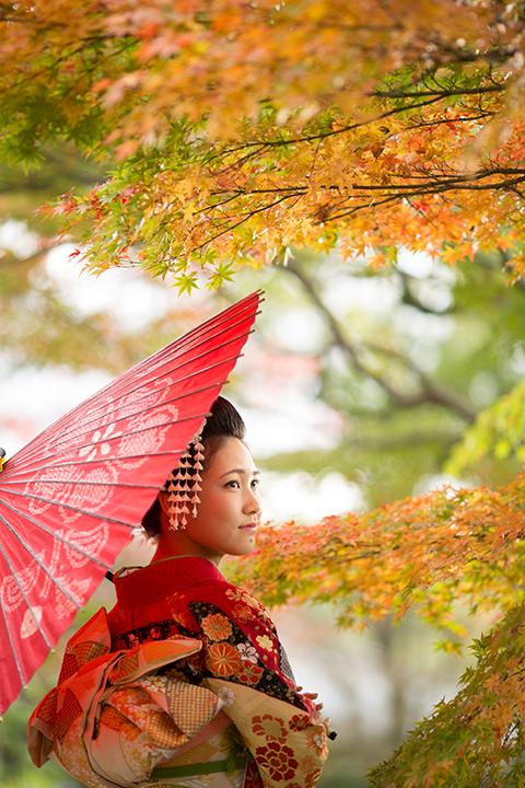 和傘と紅い振袖を身に纏う女性